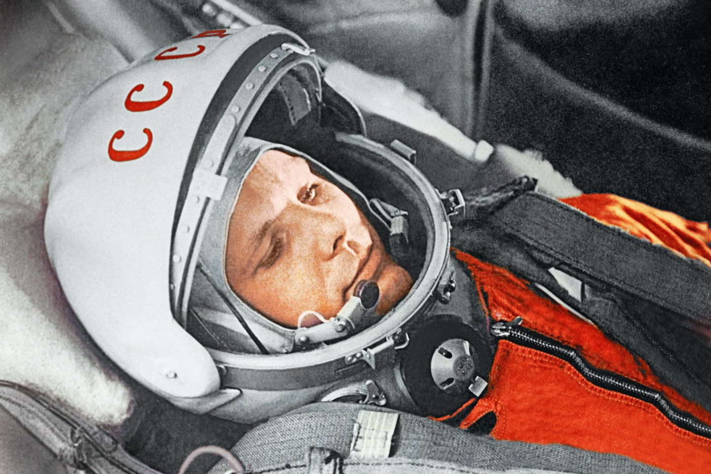 Yuri Gagarin before a space flight aboard the Vostok spacecraft. April 12, 1961.